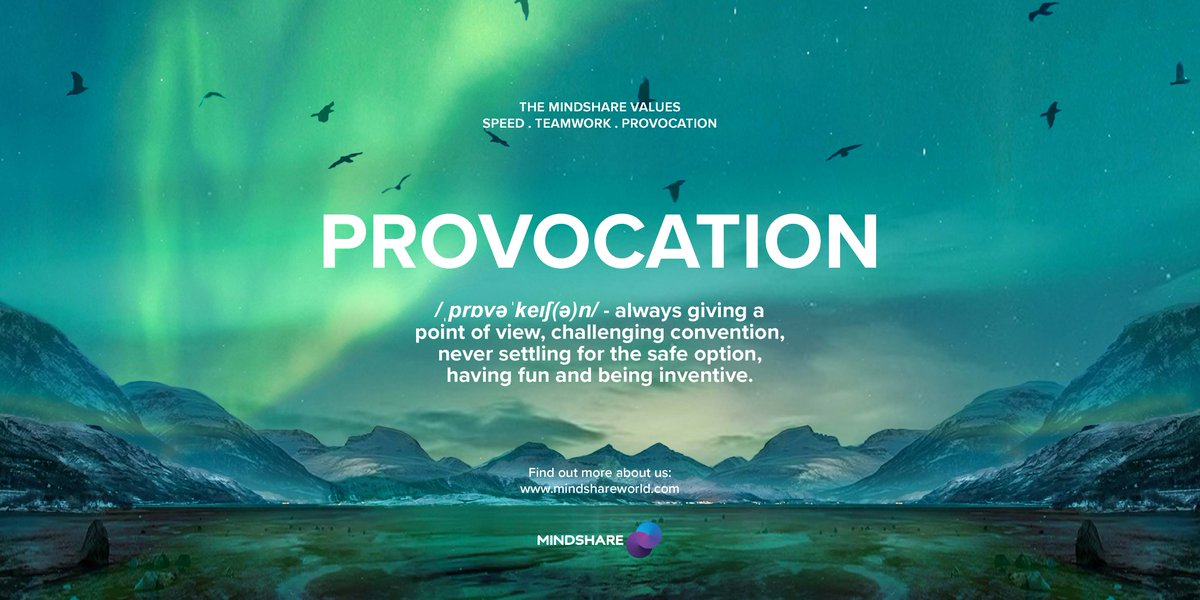 One of Mindshare's values is provocation. Mindshare people challenge and provoke, ensuring the ideas and solutions are always the best they can be. We practise provocation industry wide every single day, it's what makes us Purple.  #TeamMindshare https://t.co/1XnTHIYNyQ