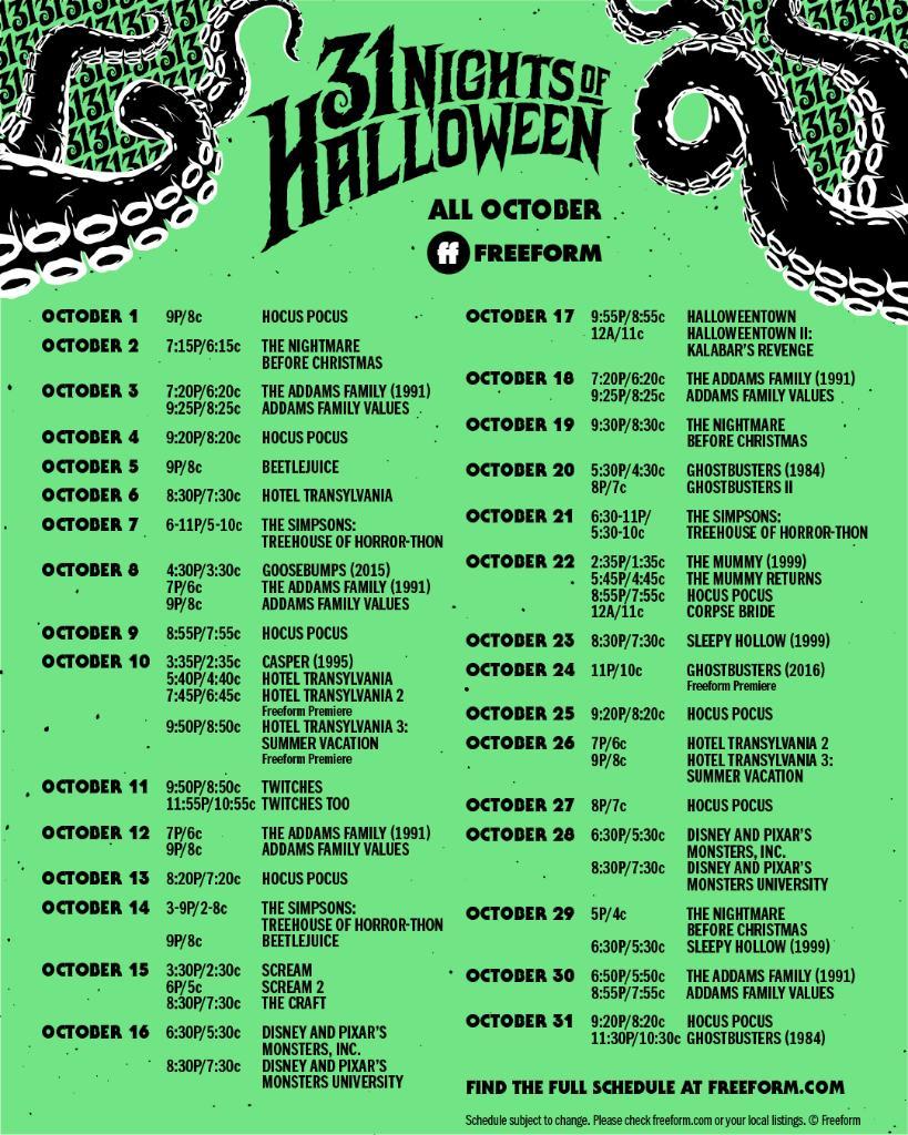 13 Nights Of Halloween 2020 Schedule Freeform's 31 Nights Of Halloween Schedule 2020   Drugstore Divas