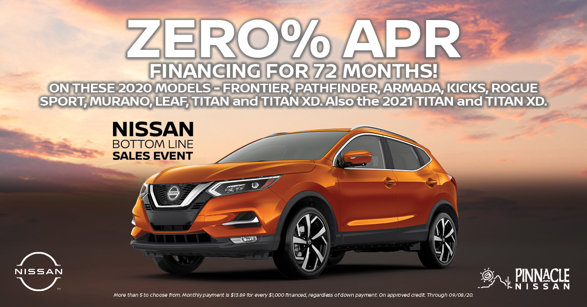 Get 0% APR Financing on select models at Pinnacle Nissan during the Nissan Bottom Line Sales Event! Start shopping online here: https://t.co/N4WITzEP7U https://t.co/MojvS3zfPI