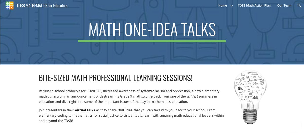 .@tdsb peeps: @TDSBmath411 has organized 20-min talks for K-12 math educators from @marian_small @MelissaSeco @gurpreetsahmbi @rowmath @angjeli4math & more! Topics include addressing anti-Black racism in math, coding in early years & assessment! Pls share!