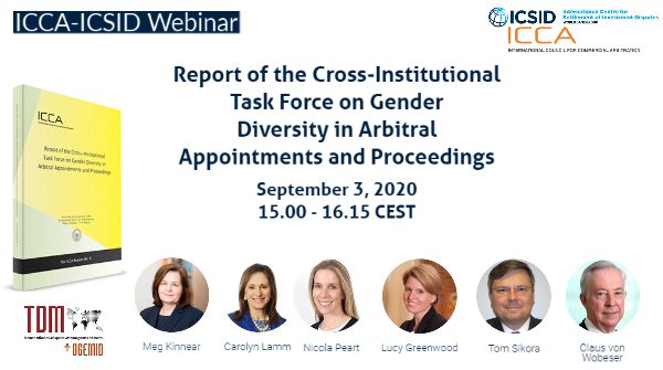 It's just around the corner—join us for a discussion co-hosted by @ICCAArbitration and ICSID on #genderdiversity in arbitral appointments this Thursday, September 3 https://t.co/QUphU5IRTN https://t.co/sPPerIJy3W