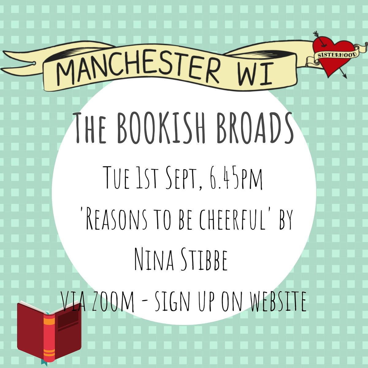 Bookish Broads! Dont forget to register for tonight if you want to join us in a discussion of Nina Stibbes Reasons To Be Cheerful. And bring your suggestions for spy-fi/ sci fi for September! #bookclub #bookishbroads #womensinstitute #manchesterwi