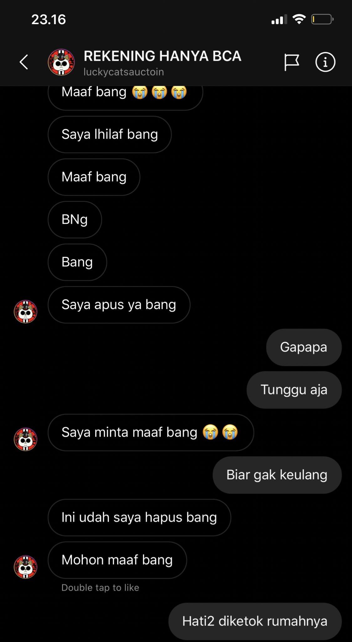 Percakapan Kaesang dengan si penipu via DM Instagram.