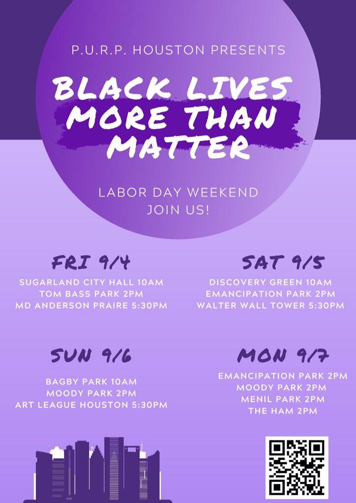 #Houstonprotest   @PURPhouston @TheAge0fChange @sayhernamehtx   #BlackLivesMoreThanMatter #BlacklivesStillMatter #Houston #houstontx #LaborDay #LaborDayWeekend https://t.co/w7JG9IGIGl