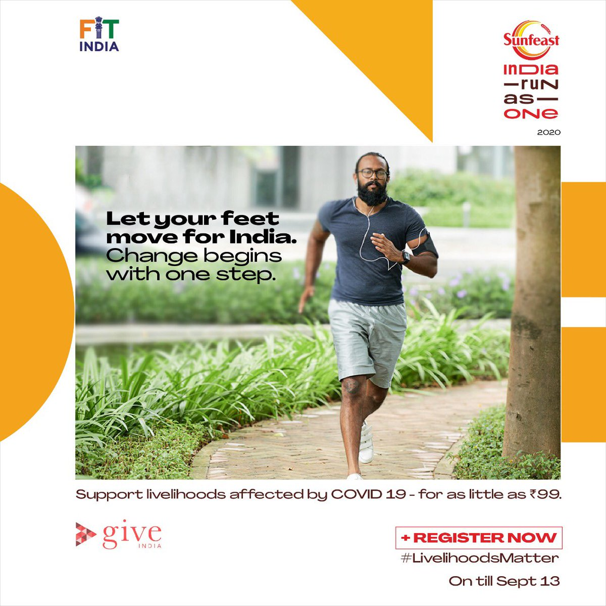 Be the change you wish to see and #MoveForGood for India. Walk,Jog or do any physical activity from wherever you are.  Join Sunfeast India Run As One- India's largest movement to support livelihoods affected by the pandemic today.   #Run4India  @KirenRijiju