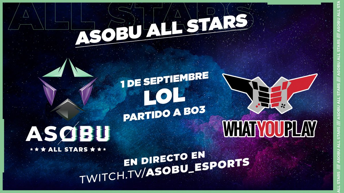 ⭐ #ASOBUAllStars   Hoy tenemos el ASOBU ALL STARS de #LeagueOfLegends que enfrentará a un combinado de @asobu_esports y otro andorrano!  🖱️ #LOL ⭐ Asobu All Stars 🆚 Equipo @WhatYouPlay Andorra  En directo a las 17.45 h en https://t.co/hfx4G35Cjw  #ASOBUAllStars https://t.co/UTABalEQa3