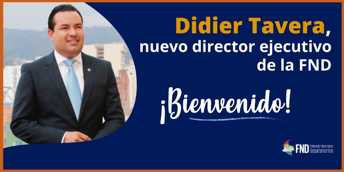 Damos la bienvenida a nuestro nuevo director ejecutivo de la @FNDCol, @DidierTaveraA; cargo que asume a partir de hoy. Su compromiso con la autonomía territorial, descentralización y  construcción de un país de regiones son augurio de una gran gestión al frente de la Federación. https://t.co/tnNdtjv1wZ