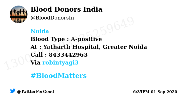 #Noida Need #Blood Type :  A-positive At : Yatharth Hospital, Greater Noida Blood Component : Need Plasma from A+ve #COVID19 recovered patient. Primary Number : 8433442963 Secondary Number : 8433442963 Via: @robintyagi3 #BloodMatters Powered by Twitter