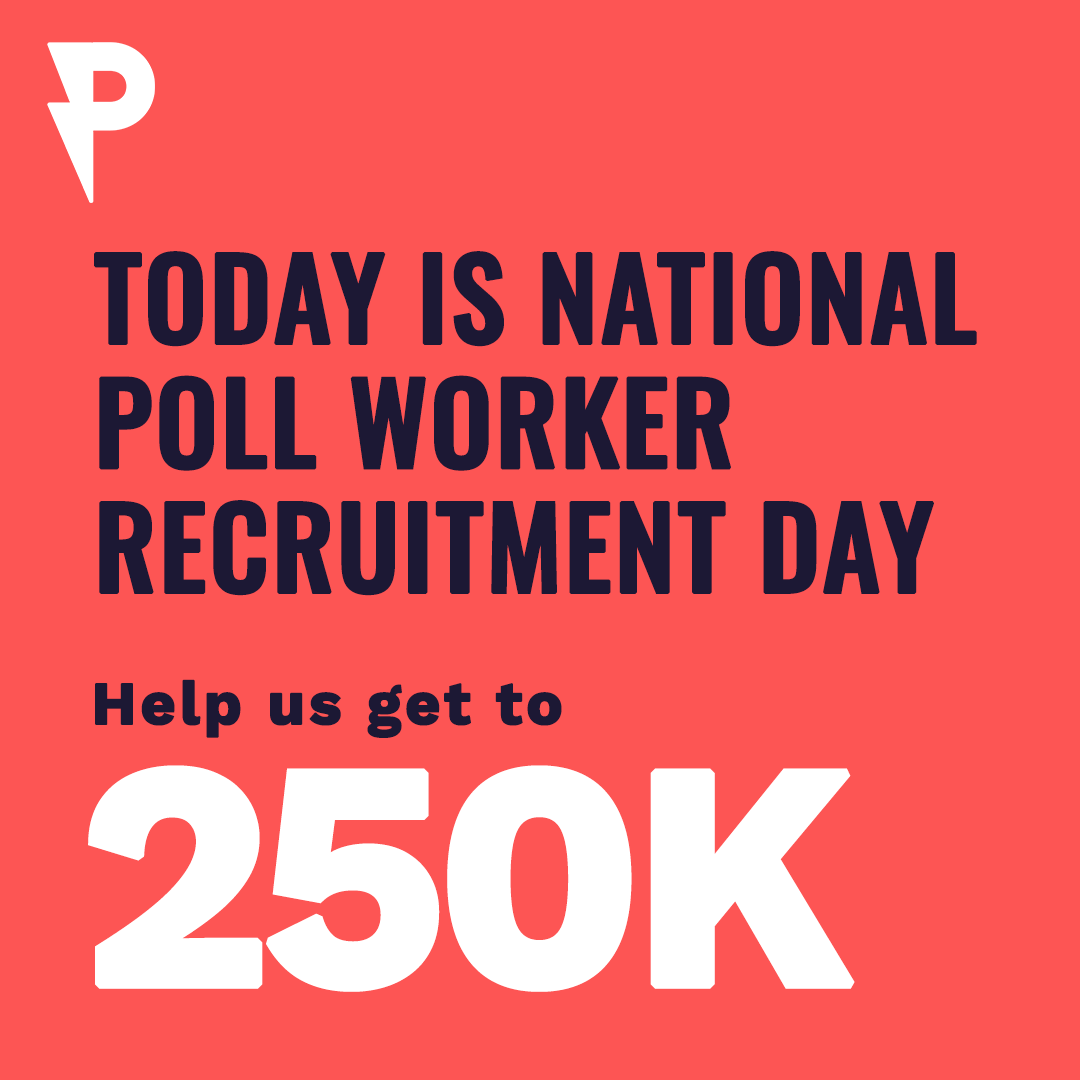 In 2018, 58% of poll workers were 61+. To keep our elders safe and to ensure a fair election, we need more young volunteers to sign up as poll workers! Sign up at: https://t.co/VFh889RHVs   #WorkThatPoll https://t.co/Q2KZj7NS13