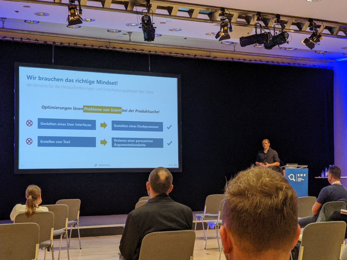 Now its another @peakaceag'er on stage at @smxmuenchen - Steffen talking about CRO at room 5. Come swing by if you're around! #smx #cro #datanerd https://t.co/9Fno08wm2J
