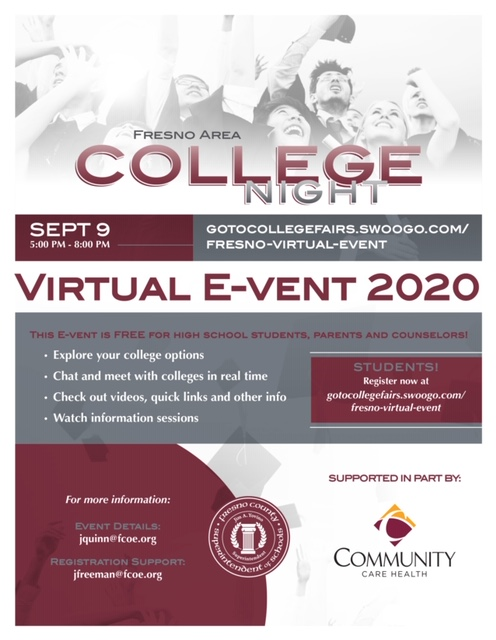 Register NOW - Fresno College Night 2020 – Virtual E-vent - September 9  (5:00 pm - 8:00 pm) https://t.co/lNycHEigWW via @ParentSquare https://t.co/SSAnrH1SnL