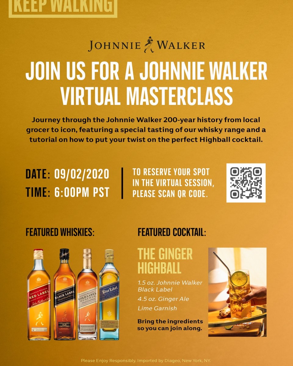 Join your friend Johnnie for a special Zoom master class on Sept. 2 at 6pm PST. Learn all about @JohnnieWalkerUS's unique history and Johnnie's recipe for the perfect Ginger Highball. Register now for free! https://t.co/ItxI1SzmV2 https://t.co/e4c1idmK0x