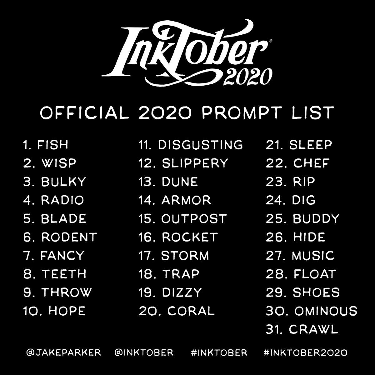 Inktober 2020 prompts