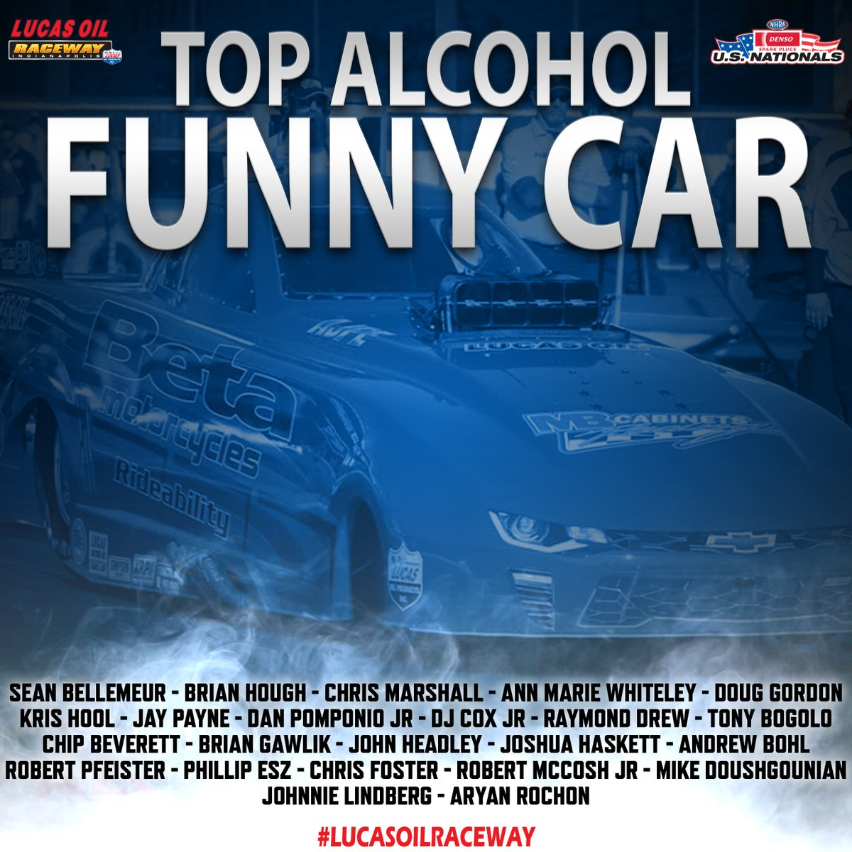 That's right, there are 23 entries in the Top Alcohol Funny Car field at the @DENSOAutoParts @NHRA #USnats this weekend!  @seantafc @disturbedRTeam @tafc562 @PomponioRacing @RayDrewRacing33 @JonnieLindberg https://t.co/PLmrVxbW6v