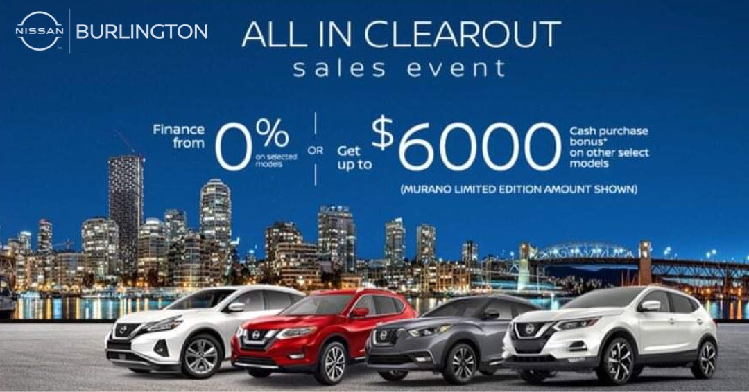 📣NEW MONTH, #NEWSALE!📣  💲Now you can GET UP TO $6,000 on select 2020 vehicles at #BurlingtonNissan or finance# a new vehicle from 0%!   Vehicles include:  ✔️#2020Rogue  ✔️#2020Murano ✔️#2020Qashqai and more!  https://t.co/Uxn6Avq304  #sale #sales #burlingtonnissan #nissan https://t.co/cJuIlyhkB5