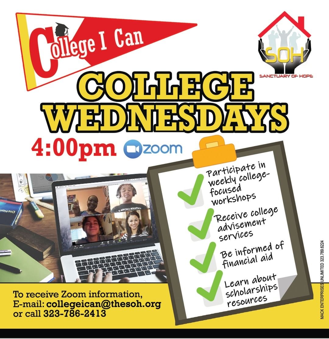 College I Can is back, every Wednesday on zoom! Please RSVP.  #CollegeICan  #HigherLearning #College #YouthResiliency #RonaResource #CollegeSigningDay #RemoteLearning https://t.co/szqc5zmeGp