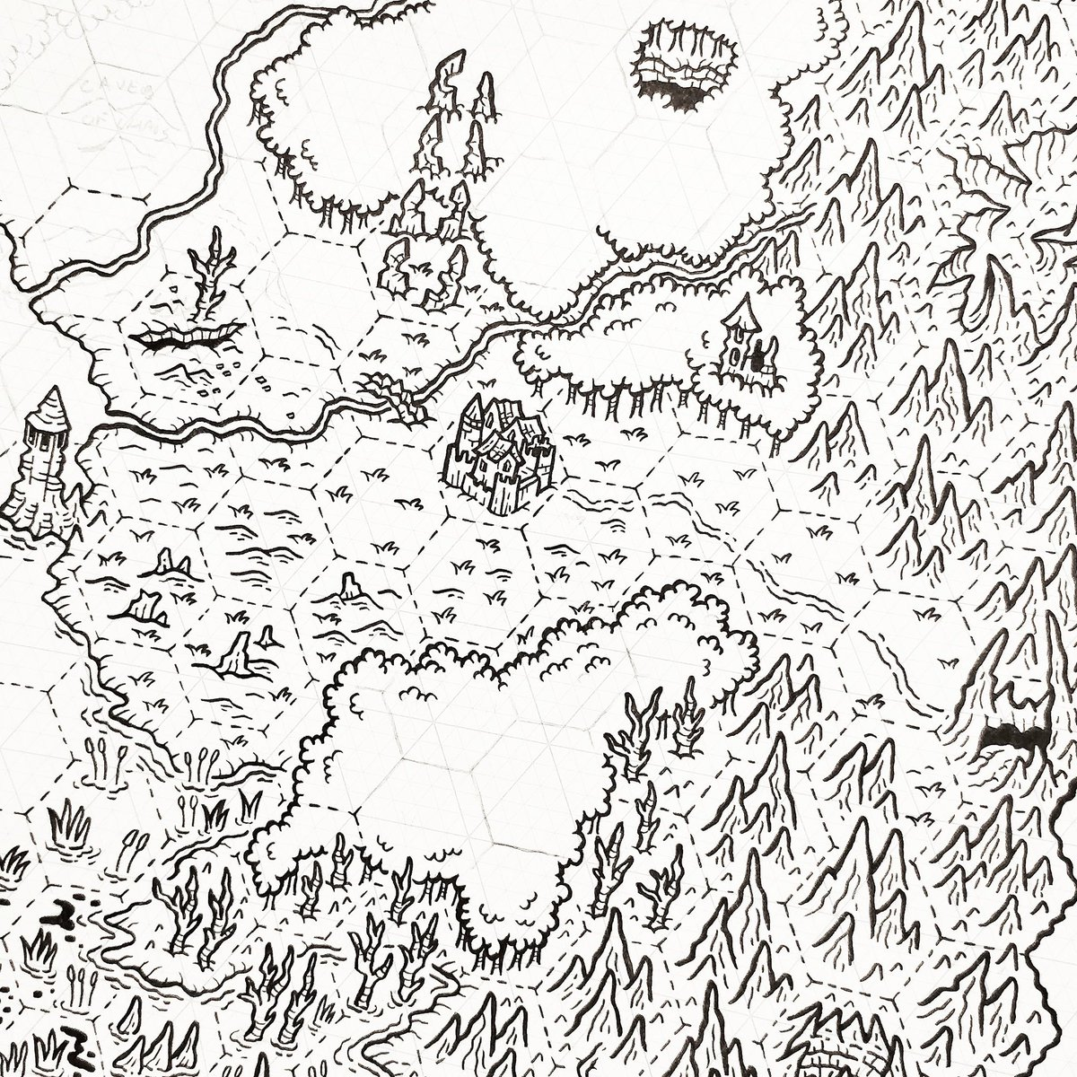 Slowly working towards POSSIBLY running a west marches type game, and of course I have to draw a map for it because, well that's just who I am right? #hexmap https://t.co/FThqcNhs4I