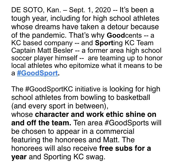 Great news for HS student athletes courtesy of @MattBesler and Goodcents! #SportingKC https://t.co/7X7xXobmPN