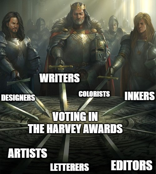 The pen 🖊️ is mightier than the sword ⚔️  Comic book pros - apply to vote in the 2020 Harvey Awards today! https://t.co/TrrXJY0v9U https://t.co/OvUbNH1IPd