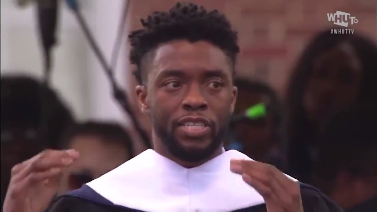 """""""Purpose is an essential element of you. It is the reason you are on the planet at this particular time in history."""" - Chadwick Boseman  We thank you for your inspiration. 🙏🏾  Video: @howardu Commencement 2018"""