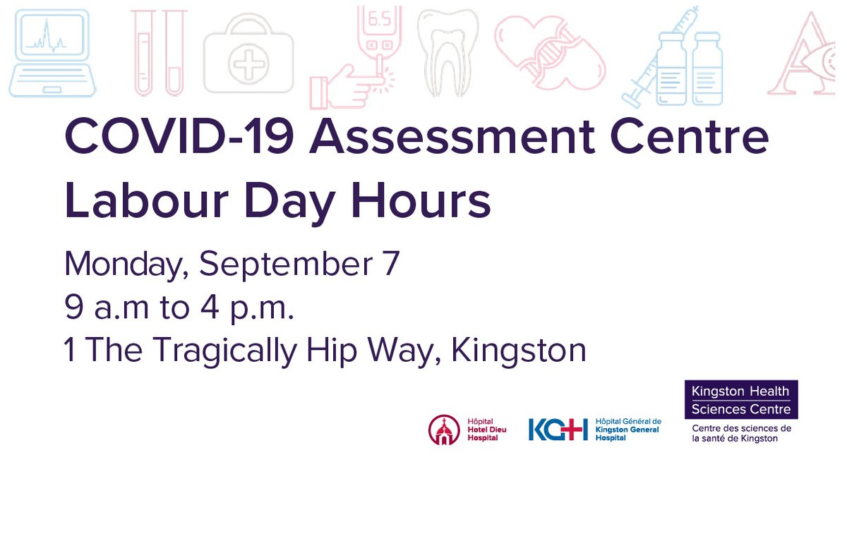 test Twitter Media - Please note: the #ygk COVID-19 Assessment Centre is OPEN each day during the long weekend, including holiday Monday, from 9am-4pm. More details at:  https://t.co/omhETt6jIb   @KFLAPH @cityofkingston @FPSParamedics https://t.co/oIyhNLGUJ1