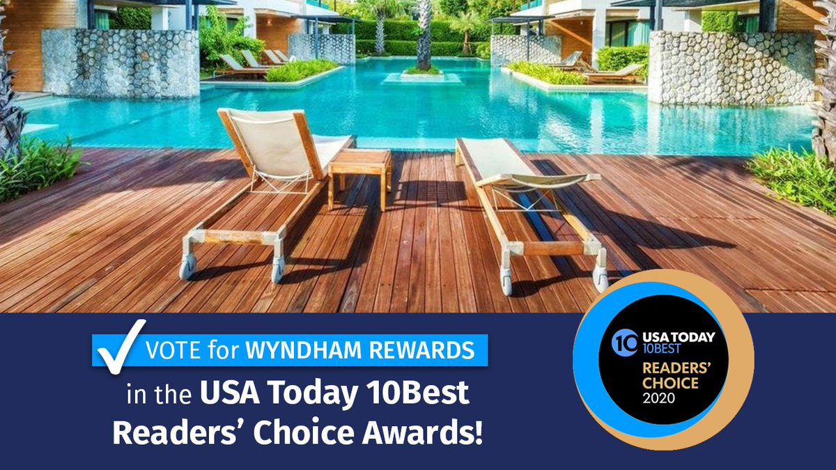 Cast your vote: Wyndham Rewards is in the running for the @usatoday 10Best Readers' Choice Awards for Best Hotel Loyalty Program for the third year in a row—all thanks to you! Vote daily now through 9/28 at 11:59 a.m. ET!