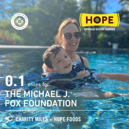 0.1 @CharityMiles for @MichaelJFoxOrg. Thx @HopeHummus for sponsoring me! #SpreadHope #HopeForTheDay