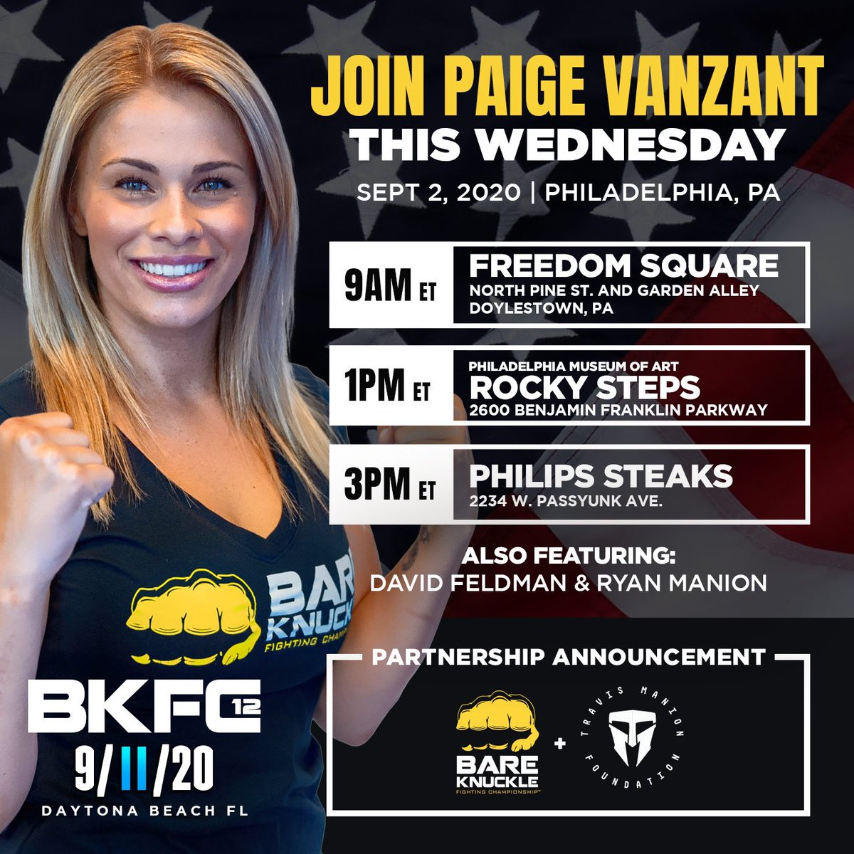 Calling all Spartans in the Philly & Doylestown area! We're inviting you to meet Combat Sports Super Star, @paigevanzant tomorrow starting at 9am in Freedom Square for a special partnership announcement between TMF & @bareknucklefc (BKFC). Don't forget to wear your TMF t-shirts! https://t.co/ep5C0VIVog