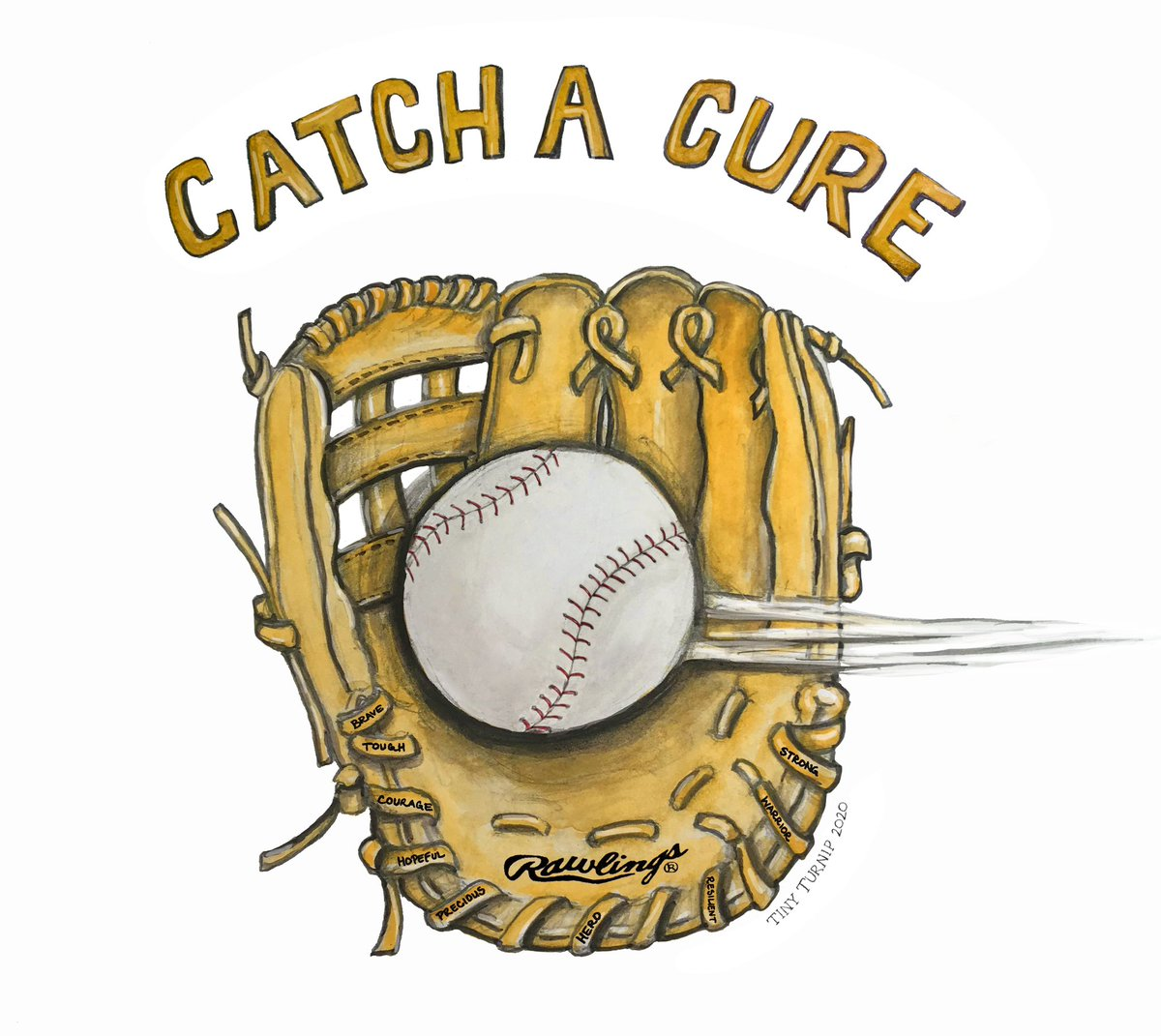 """Help us """"Catch A Cure"""" for pediatric cancer! September is the month to go GOLD to raise hope,awareness,& funds for pediatric cancer research & the affects it has on families! We are teaming up w/ @radychildrens to donate profits from our collab w/ the McCutchen & Crawford family. https://t.co/a3p6YpSng6"""