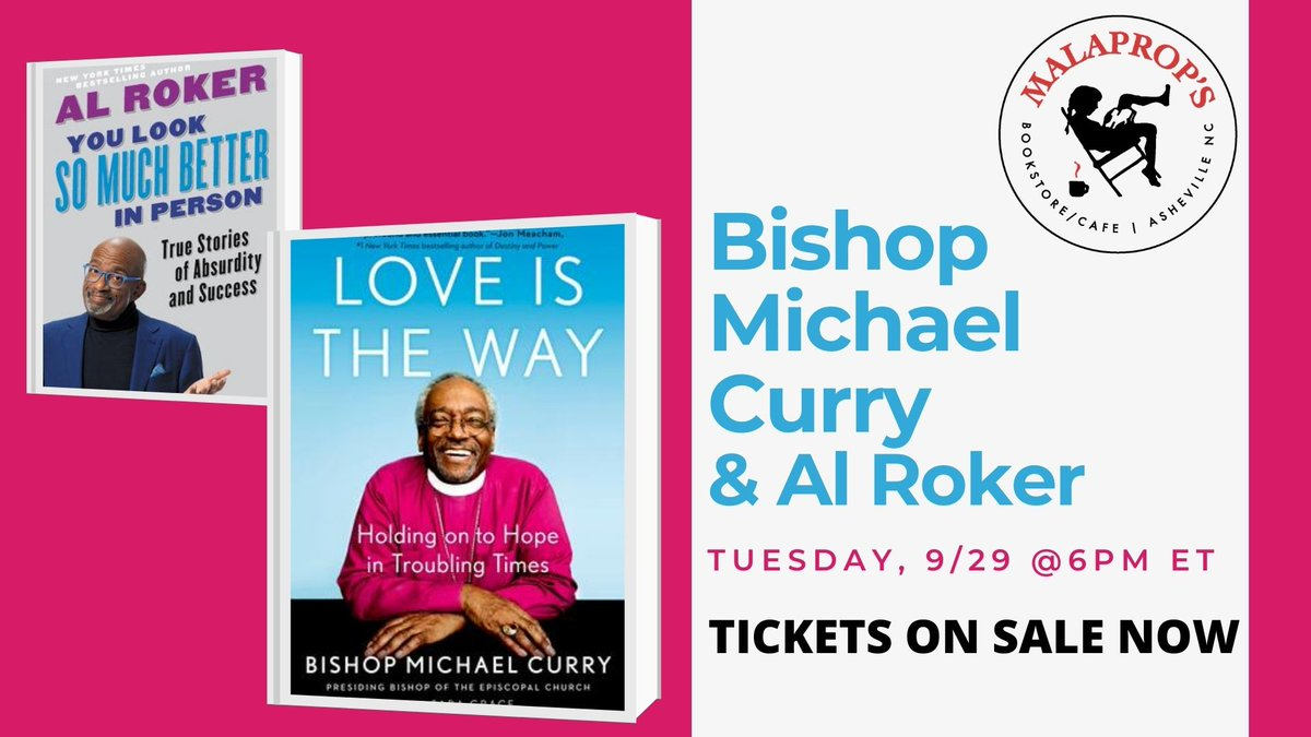 Looking forward to chatting (virtually) with Bishop Michael Curry on Tuesday, Sept. 29. Join us. Info and tix here> malaprops.com/event/ticketed… @pb_curry @Malaprops #alroker @HachetteUS #book #episcopal