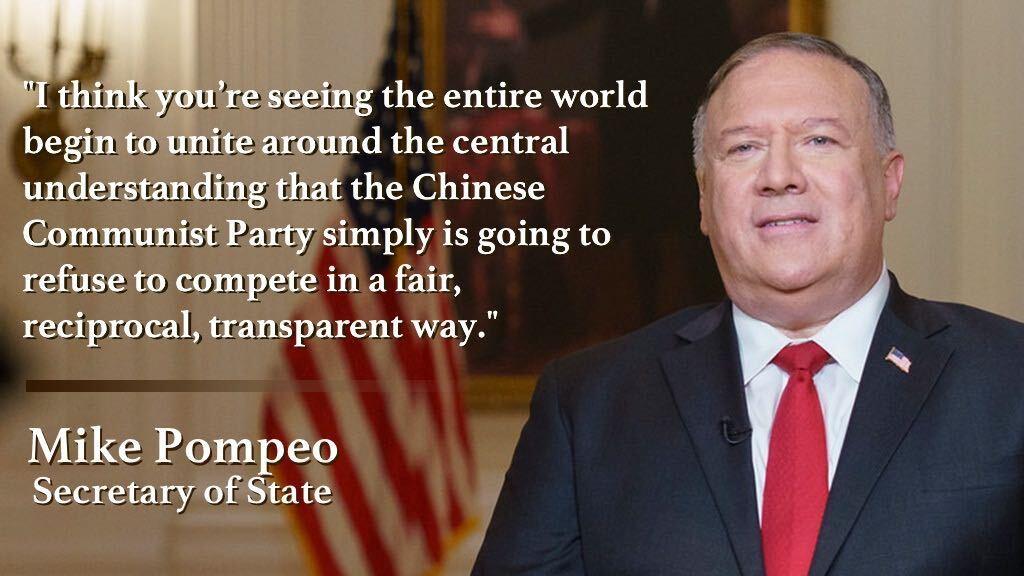 「公正で互恵的で透明性のある方法で競争するつもりが中国共産党には微塵もないという基本的理解のもとに、全世界が団結し始めているのが分かると思う」――ポンペオ国務長官 https://t.co/wpBf0MQqMY