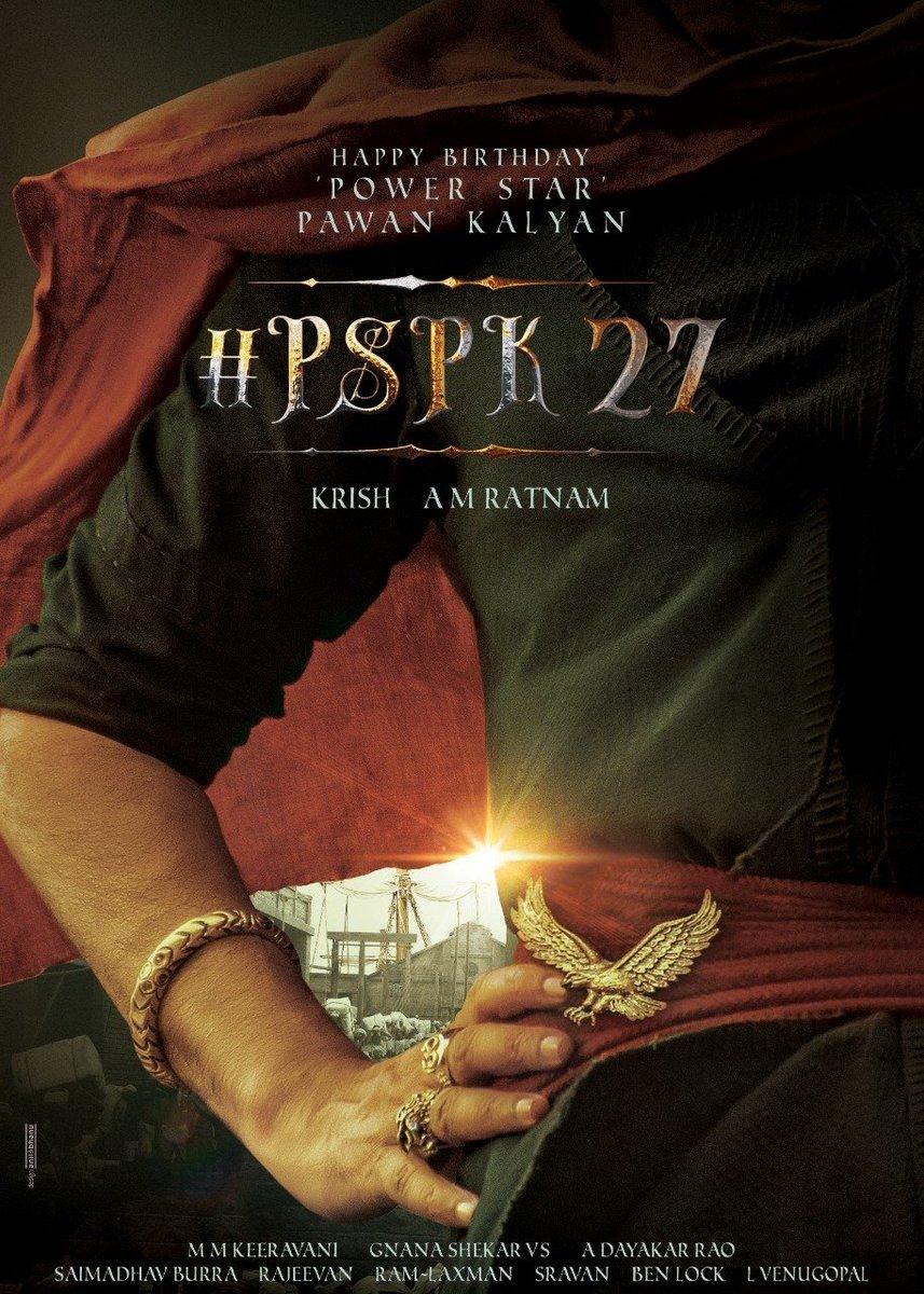 Here's the Pre-look poster of Power Star @pawankalyan garu from our #PSPK27. #HBDPawanKalyan  More details will follow soon.   @DirKrish #AMRatnam @mmkeeravaani
