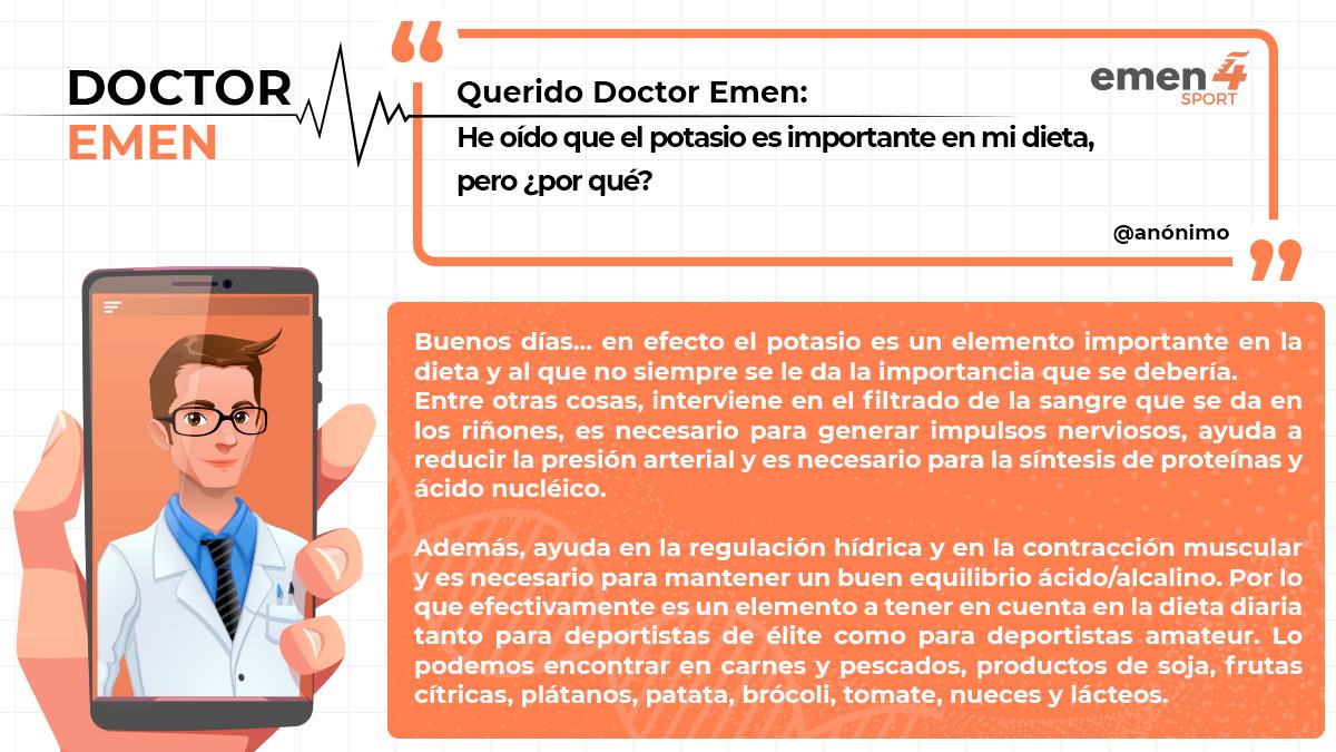 """📌 Hace unas semanas nos llegó esta consulta al Dr. Emen, de la mano de un usuario anónimo de Facebook.  """"He oído que el potasio es importante en mi dieta, pero ¿por qué?.""""  ¡Coméntanos tu caso! 👇 https://t.co/LRnKemJRrf #emen4sport #deporte #rendimiento #innovacion #formacion https://t.co/WDUrcG3SMU"""