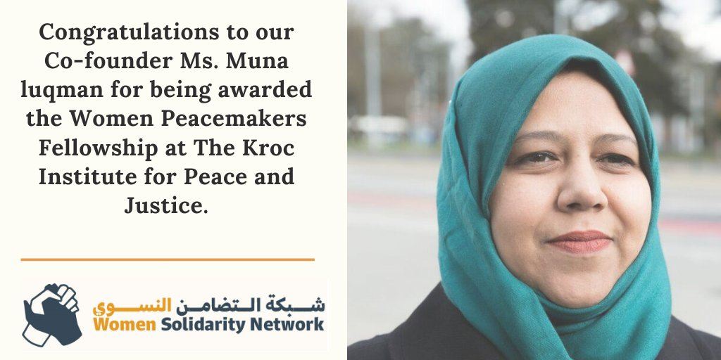 Congratulations to our own @munaluqman of @Food4Humanity for being awarded @WomenPeaceMaker fellowship at @KrocIPJ #FeministPeace #Womenpeacemakers #Yemen https://t.co/7stCHS9Qme