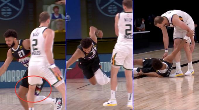 【影片】爵士半場落後17分,Ingles膝蓋撞翻Murray引爭議,想要道歉卻被後者一把推開!