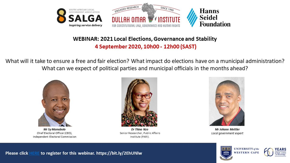 REMINDER: Webinar on the 2021 Local Elections & the impact on municipal governance.  In conversation with Sy Mamabola (CEO of @IECSouthAfrica), Dr Thina Nzo (@PARInstitute) &  @MettlerJohann  4 September 2020 10 AM RSVP: https://t.co/wFsA8QW2YJ  @HannsSeidelSA & @SALGA_Gov https://t.co/uKQ6zyzB4u