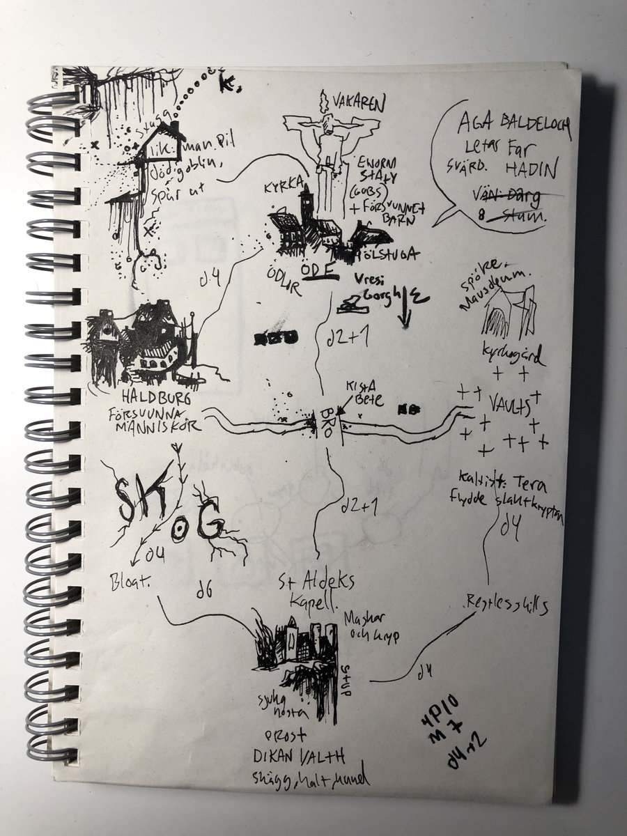 Prepnotes for a weekend of MÖRK BORG. Overland map, a few location with bullet points, paths with days' travel and a handful of one-page dungeons spread evenly across it all. Of course the players left the map within the first couple of hours but that's just how things go. https://t.co/5qKx8WhLnE