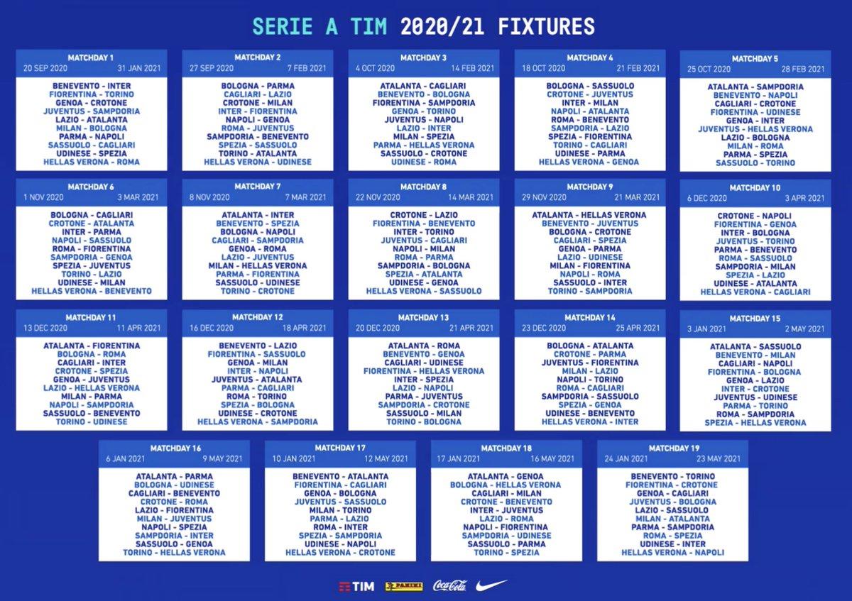 Soy Calcio On Twitter Calendario Completo De La Serie A 2020 21 Lazio Vs Atalanta J1 Juventus Vs Napoli J3 Derby De Milano J4 Derby Della Lanterna J6