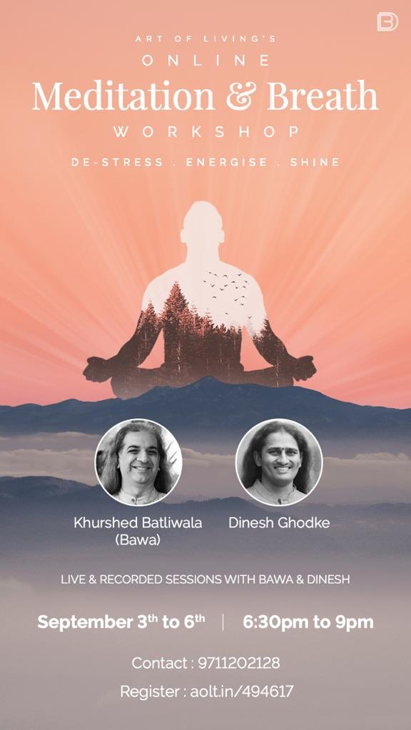 Bawa and I will be teaching an online Meditation & Breath Workshop starting tomorrow evening 630pm, Sep 3-6. De-stress, energize and shine with us - register at https://t.co/jhclv9yKBm See you there... https://t.co/t5J4pqZNUS