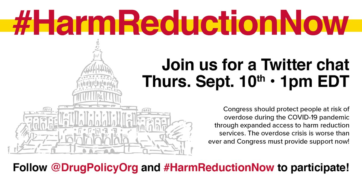 Help us bring awareness to the critical need for Congress to support harm reduction providers on the frontlines of the worsening overdose crisis and COVID-19. Join us for a Twitter chat on Sept. 10th at 1pm ET to call on Congress to support harm reduction now. #HarmReductionNow https://t.co/mZ829DN077