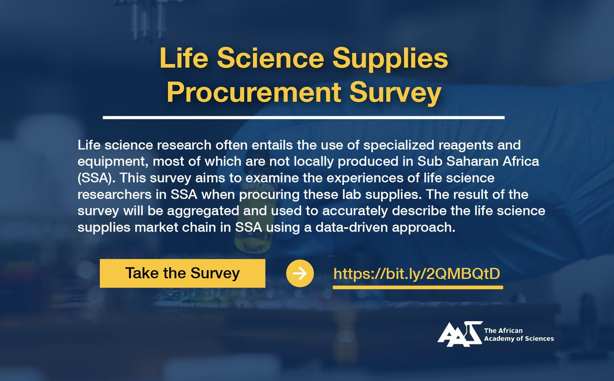 Help us to better understand the experiences of life science researchers in Sub Saharan Africa when procuring specialized lab reagents, equipment and other supplies. Take the survey here  👉 https://t.co/UJWJAomxSg https://t.co/UgkmOolNu4