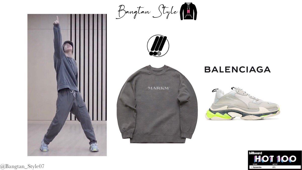 Bangtan Style On Twitter Dynamite Dance Practice Jungkook Was Wearing Markm Bold Logo Pigment Sweatshirt 58 11 Balenciaga Triple S Sneakers 1096 Jungkook Bts Twt Https T Co Wwxtwzsfbx