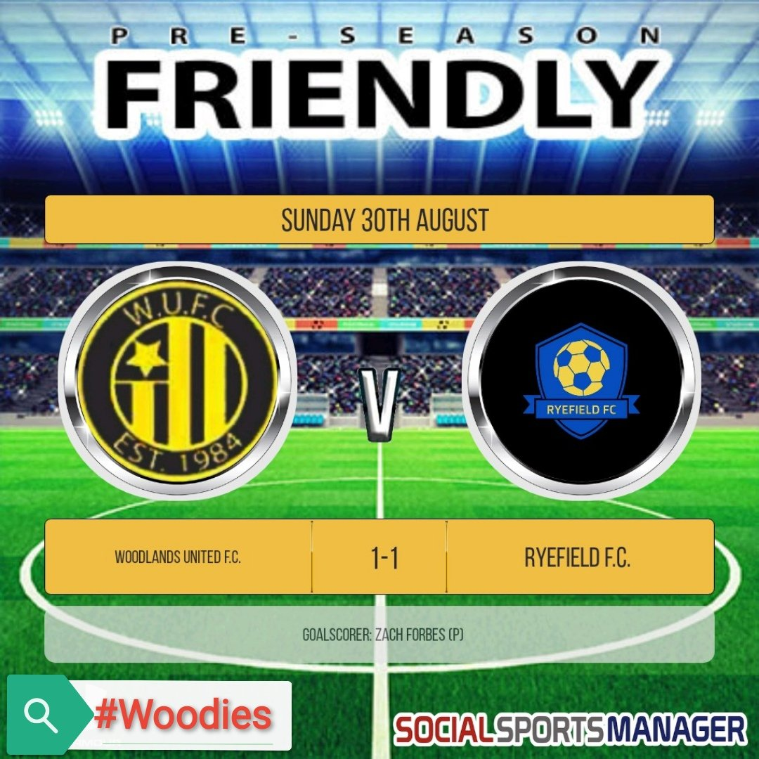 Our latest pre-season friendly ended in a 1-1 draw against fellow @HarrowSunday side Ryefield. Despite having many chances during the game, we didn't score until the last kick of the game from the penalty spot.  Good luck to Ryefield for the season ahead!  #Woodies https://t.co/szhe28j9R0