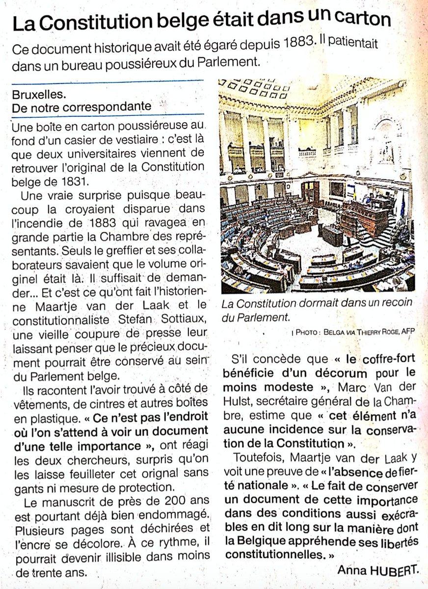 On a retrouvé la constitution 🇧🇪... dans un carton... via @OuestFrance https://t.co/Alx4Sj21GX