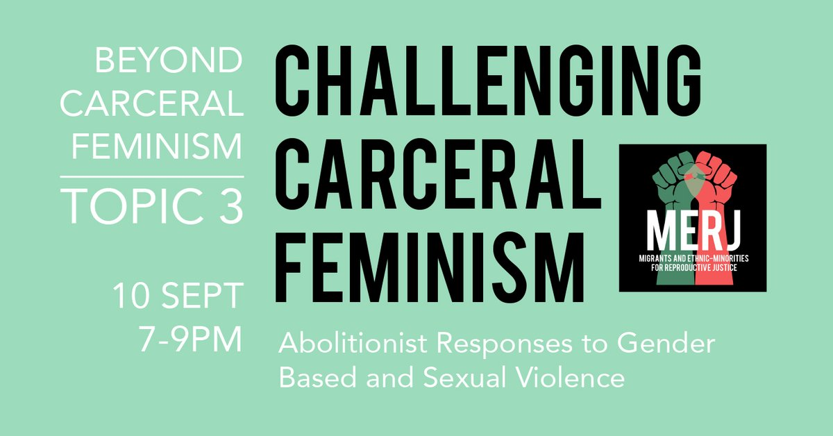 Join us on the 10th of Sept at 7pm for the third online discussion in our Beyond Carceral Feminism series. Follow the link for registration details and reading/watching/listening list. https://t.co/6QBVeryrEw https://t.co/5KIjlMHUqr