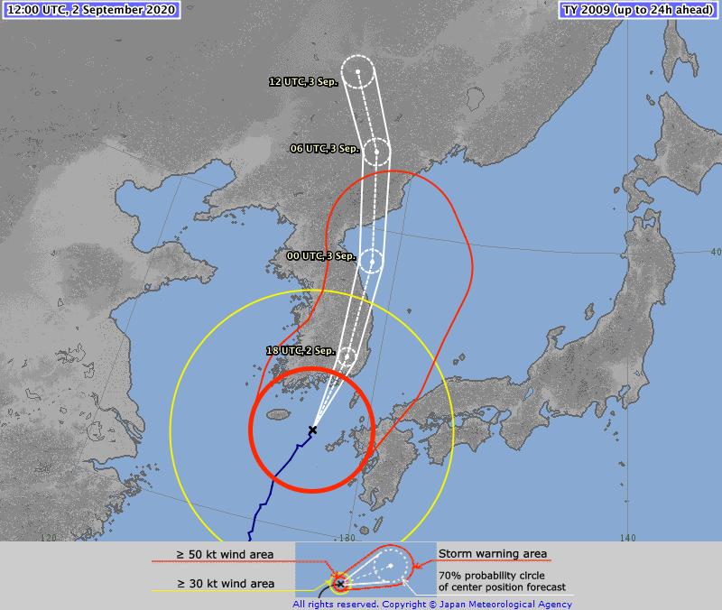 ⚠️ ⚠️ ⚠️ TYPHOON #MAYSAK #10W 02/1100Z 33.0°N 127.8°E, moving NNE 14kt. Max sus wind 85kt, gusts to 120kt. 950hPa (RSMC Tokyo)   MAYSAK is a category 3 storm on the Saffir Simpson Hurricane Wind Scale (TSR UCL London data)  >>>https://t.co/EET5VsvnOH https://t.co/2GPJqEc77T