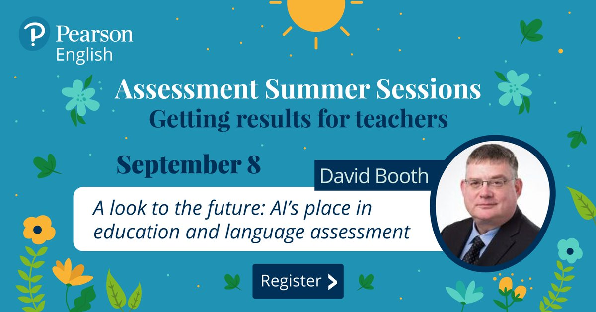 Wow, 11 weeks of webinars are coming to an end!   Join David Booth as he rounds off our Assessment Summer Sessions with a look into the future of AI in assessments.  Sign up now: https://t.co/JlwdjTyXEz  #PearsonSummerSessions #AutomatedAssessment https://t.co/V1Y0H8bSbV