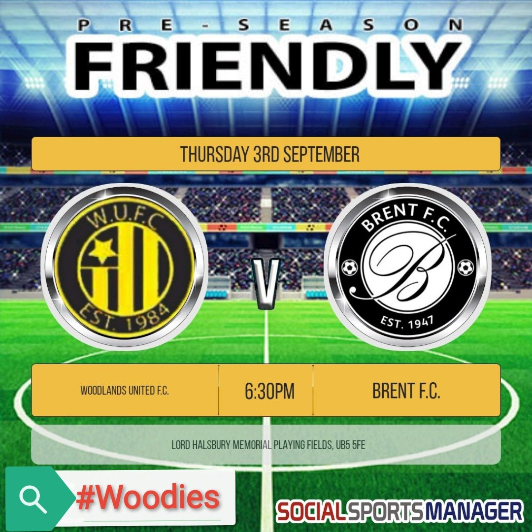 Our next pre-season friendly sees us take on @BrentFC in an evening fixture tomorrow.  Kick Off is at 6:30pm at Lord Halsbury Memorial Playing Fields, UB5 5FE  #Woodies https://t.co/IIUUWCD1b5