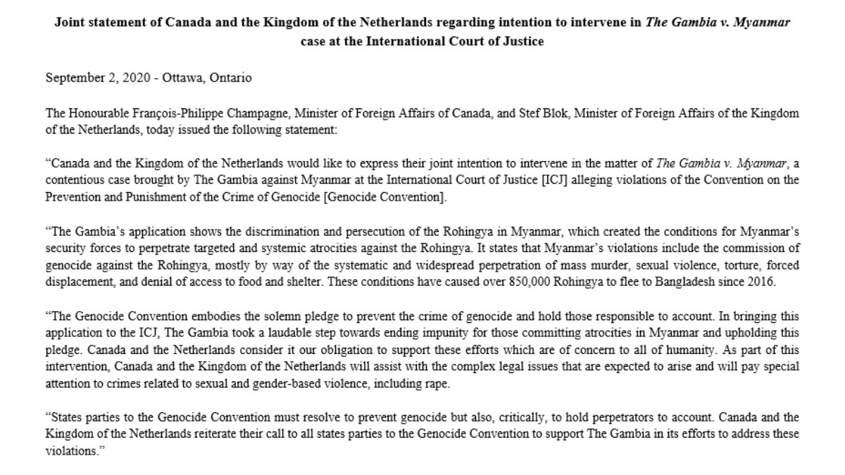 Canada & the #Netherlands intend to jointly intervene in the matter of #Gambia v. #Myanmar @CIJ_ICJ.  Perpetrators of crimes against the #Rohingya must be held to account. 🇨🇦's commitment to human rights, justice & prevention of genocide is unwavering.  Statement w/@ministerBlok https://t.co/NpqvgH7Vzb