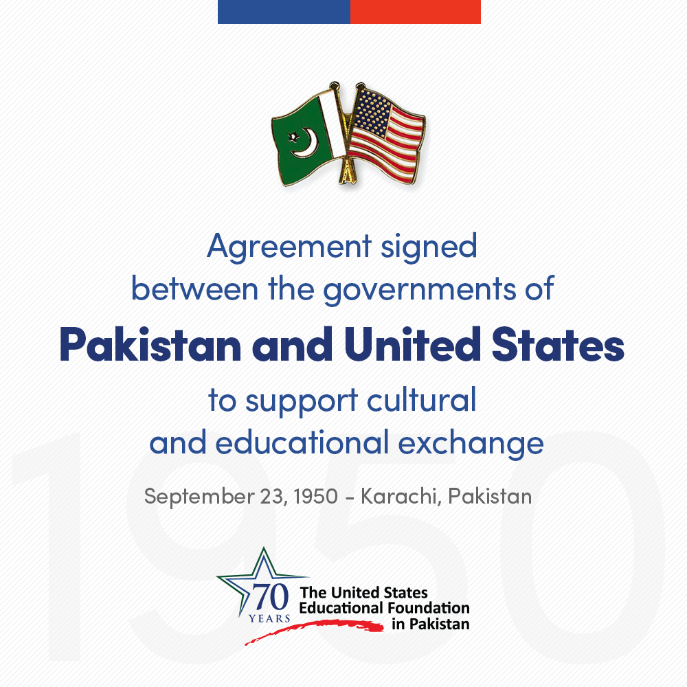 Through an agreement signed between the governments of 🇵🇰 & 🇺🇸 on September 23, 1950, #USEFP was formed to promote mutual understanding.  More than 8,000 alumni are working in diverse fields across Pakistan and the world to address global challenges. #USEFP70 #Partners4Prosperity https://t.co/1bccqYwyaJ